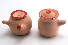 Clay tableware model. Reduce the size of the Chinese tableware, made ​​of clay Royalty Free Stock Image