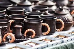 Clay tableware royalty free stock photos