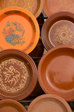 Clay Tajines for sale in a market stall, Morocco Royalty Free Stock Photo