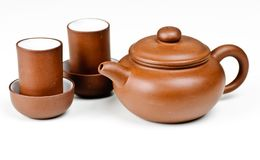 Clay tea pot and cups Stock Image