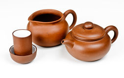Clay Tea Pot With Accessories Stock Photos