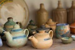 Clay tea pots Stock Photo