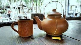 Clay tea set teapot with teacup Stock Photography