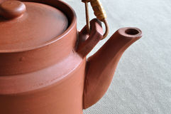 Clay teapot. A simple and traditional Chinese clay teapot Stock Photo