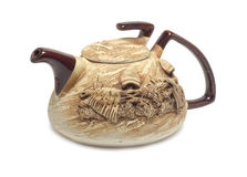Clay teapot. Teapot hand-made from clay Royalty Free Stock Photography