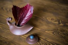 Clay teapot in chinese style with red grape leaves at dark wooden background stock photography