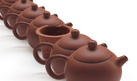 Clay Teapots and Tea strainer Royalty Free Stock Photography