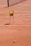 Clay Tennis Court. Practise ball on a Clay Tennis Court Royalty Free Stock Photo