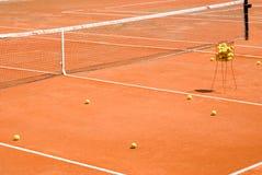 Clay Tennis Court. Practise ball on a Clay Tennis Court Stock Photos