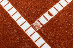 Clay tennis court with lines abstract view stock photos