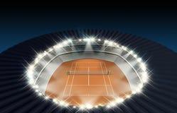 Clay Tennis Court At Night Foto de archivo libre de regalías