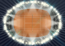 Clay Tennis Court At Night Image stock