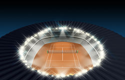 Clay Tennis Court At Night Royalty Free Stock Photo