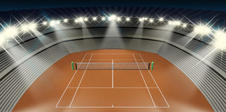 Clay Tennis Court At Night Stock Photo