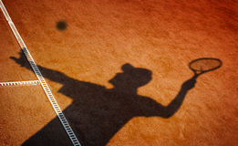 Clay tennis court. And player concept Stock Photos