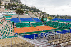 Clay tennis court prepared for the Monte-Carlo Rolex Masters finals Stock Photo