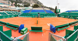 Clay tennis court prepared for the Monte-Carlo Rolex Masters finals Royalty Free Stock Image