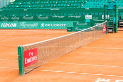 Clay tennis court prepared for the Monte-Carlo Rolex Masters finals Royalty Free Stock Photography