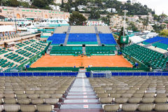 Clay tennis court prepared for the Monte-Carlo Rolex Masters Stock Photography