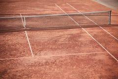 Clay Tennis Court y red vacíos Imagen de archivo