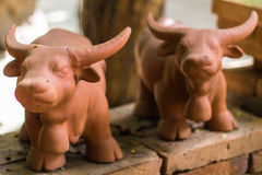 Clay of Thai buffalo Stock Photos