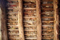 Clay tiles roof indor square wooden beams Stock Photos