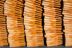 Clay tiles roof orange pile Royalty Free Stock Images