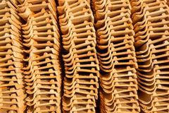 Clay tiles roof orange pile Stock Photography