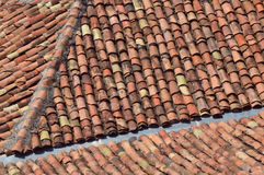 Clay tiles on roof. Traditional tiles on a house in the Balkan Stock Photos