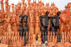 Clay toys from Bankura. Beautifully hand crafted clay horses, elephants and other toy puppets made in the town of Bankura, West Bengal, India stock image