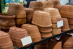 Clay tree pots. Small clay tree pots on shelf Royalty Free Stock Images