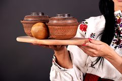 Clay utensils. Traditional ware, hand stock image