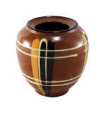 Clay vasel isolated. Decorative clay vase ceramics  isolated over white background backdrop Royalty Free Stock Photo