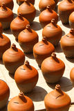 Clay vases kept for drying Stock Photo