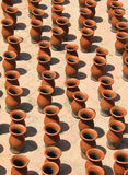 Clay vases kept for drying Stock Image