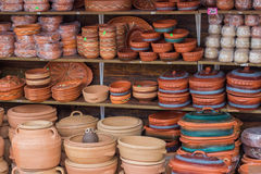 Clay ware for sale, clay cookware on sale Stock Photography