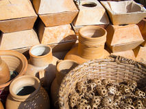 Clay ware for sale. Clay cookware on sale on the Ver-o-Peso fair - Amazonia - Belem - Brazil Royalty Free Stock Photos