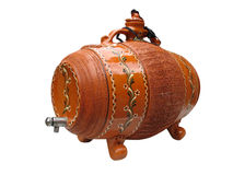 Clay wine decorative barrel isolated over white Stock Photos