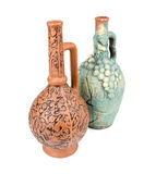 Clay wine jugs or pitchers isolated on white Stock Images