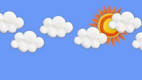 Claymation太阳和云彩 股票视频
