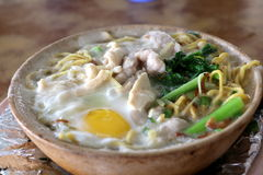 Claypot egg noodle, Cantonese style Royalty Free Stock Photos