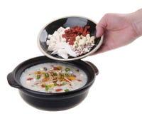 Claypot healthy porridge with herb Stock Images