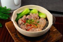 Claypot pork rice ,chinese foods. In restaurant stock photo