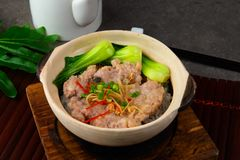 Claypot pork rice ,chinese foods. In restaurant royalty free stock photo