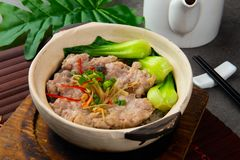 Claypot pork rice ,chinese foods. In restaurant stock photography