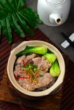 Claypot pork rice ,chinese foods. Top shot view stock image