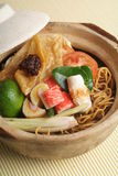 Claypot seafood noodle Stock Photos