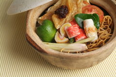 Claypot seafood noodle Royalty Free Stock Photo