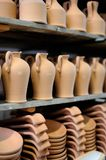 Clays. Shapes ready to be painted in a workshop Royalty Free Stock Images