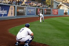 Clayton Kershaw Warms Up Foto de archivo